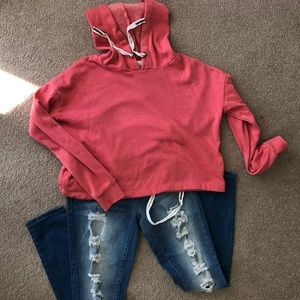CORAL HOODED SWEATSHIRT SIZE S jeans have sold